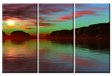 handmade lake sunset 3 panel oil paintings on canvas home decoration
