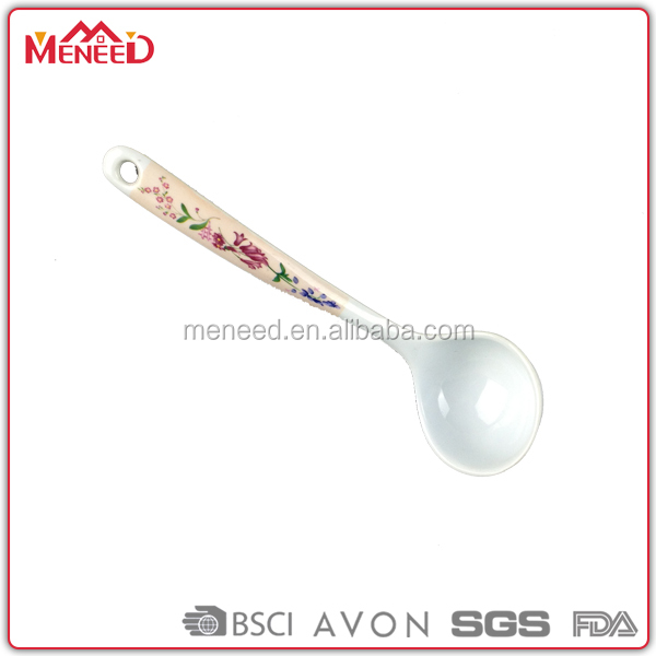 Cheap kitchen utensils cooking supplies printing plastic soup spoon, melamine cooking spoon