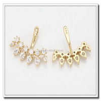 Fashion stainless steel girls small gold earrings white stone stud earrings