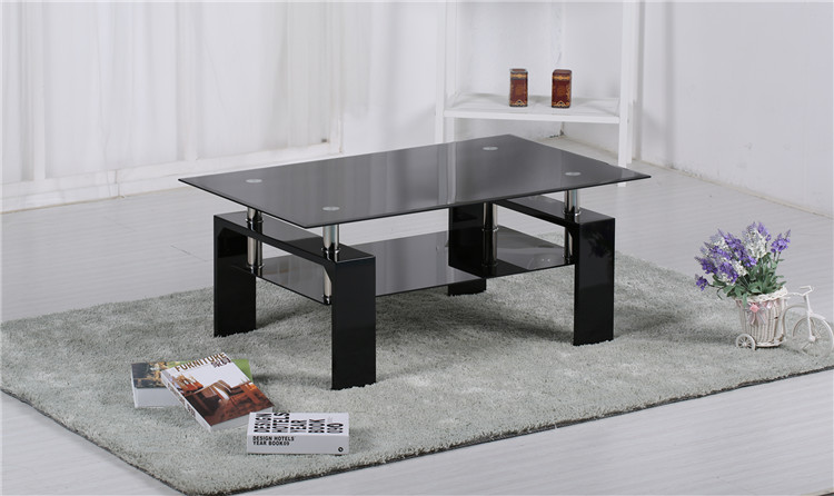 Modern Living Room Furniture Tempered Glass Top Wooden MDF Legs Black Glass Coffee Table Tea Table
