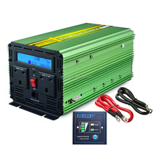 EDECOA Pure Sine Power Inverter 1000w Green DC 12v to UK type AC 240v Converter with LCD Display, Remote Control, Silent Fan