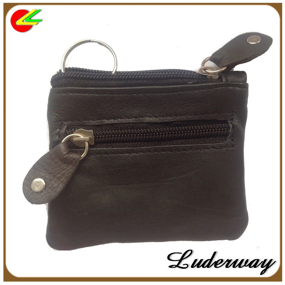 LADIES MENS GIRLS BOYS SOFT LEATHER BLACK ZIPPER COINS WALLET PURSE