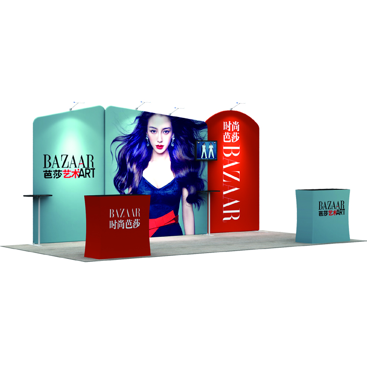Portable dye-sublimation tension fabric lightweight aluminum frame trade show display booth