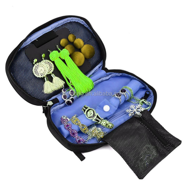 Soft Padded Travel Jewelry Roll Pouch Travel Jewelry Organizer Bag Case