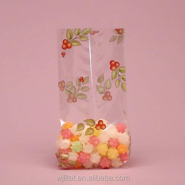 custom print transparent christmas gift bag with middle sealing