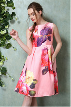 Floral print casual dress satin vintage dress latest pakistani casual dress designs Z026