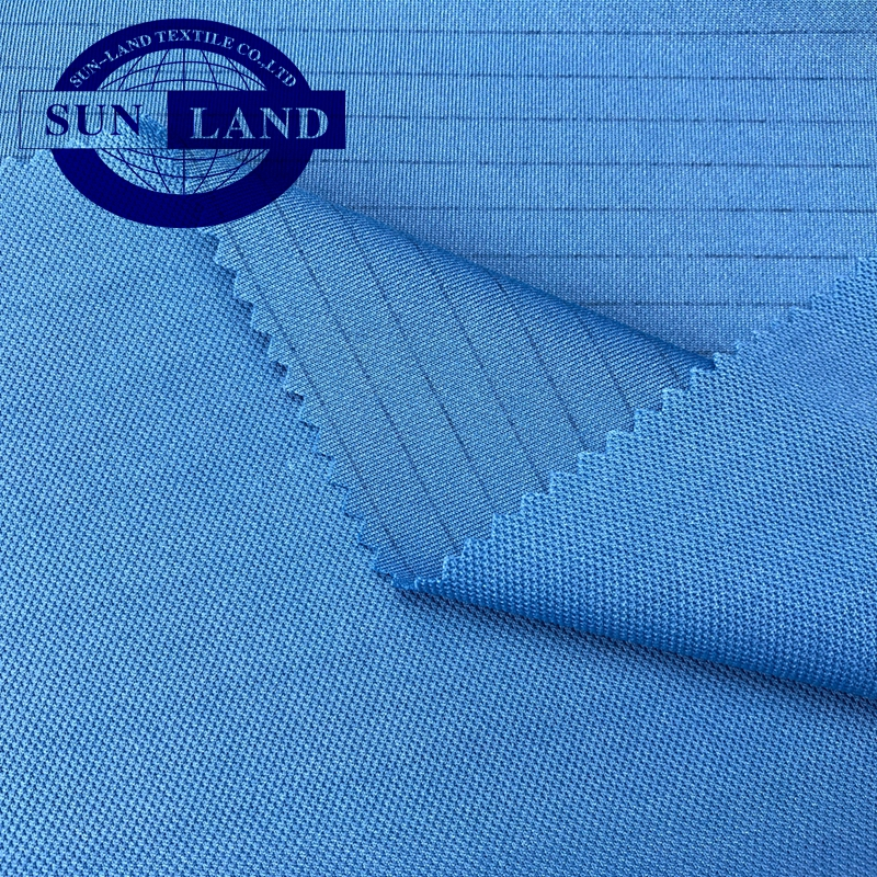 Carbo line antistatic 100% polyester double pique mesh fabric for workwear