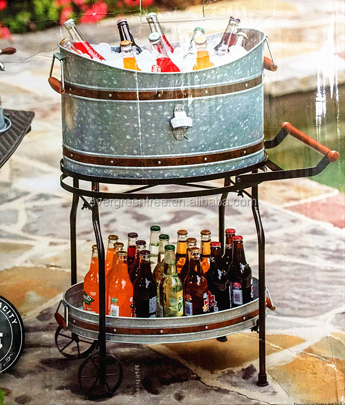 Galvanized Beverage Tub with Rolling Stand,Phosphating effect/Distressed Finish