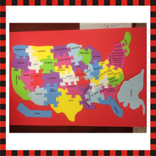 America map educational children eva foam baby play mat jigsaw puzzle games