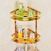 Wholesale And Retail Golden Brass Bathroom Shelf Storage Holder Wall Mounted Dual Corner Basket Shelf W/ Hooks