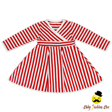 Autumn Long Sleeve Children Clothes Wholesale Fahion Red White Striped Dress Baby Girl Cotton Dresses