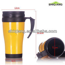 400ml eagle high quality cheapest double wall insulated plastic thermal travel mugs with paper inserted and handle