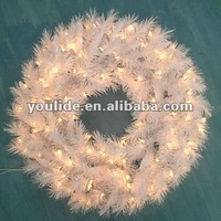 45cm diameter white pvc pre-lit christmas wreath battery lights