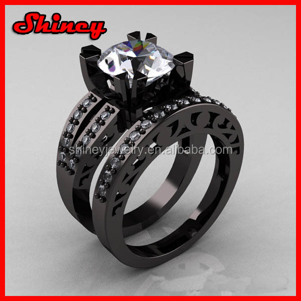 black gold cubic zironia ring for wedding white cz size 13 rings for women