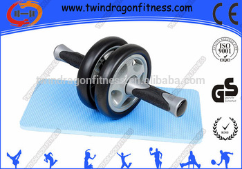 Wholesale new style fitness training double wheels folding ab roller with foam handle