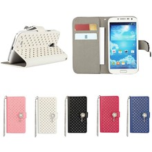 Diamond Flower pattern belt flip leather case for samsung s4, luxury bling for samsung s4 case leather wallet