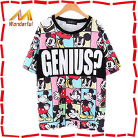 Factory direct wholesale women fancy Mickey Mouse t-shirt/woman t-shirt printing
