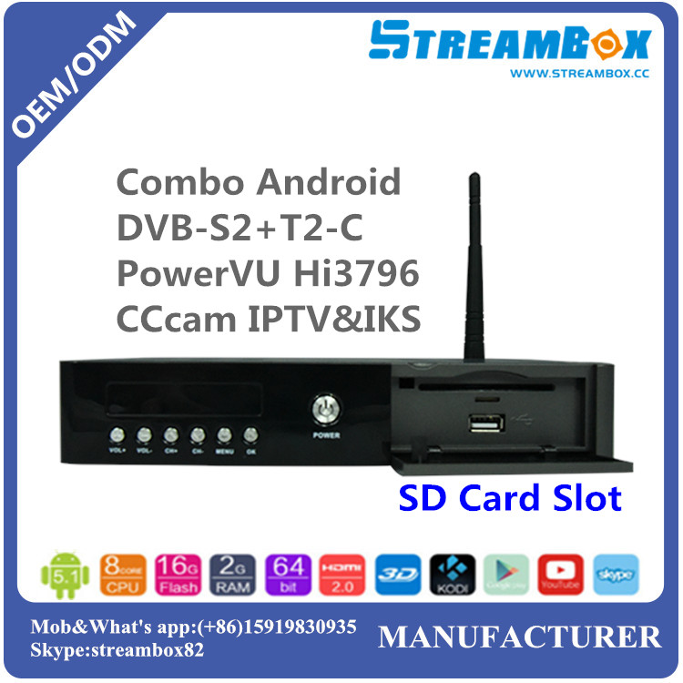 PowerVU Hi3796 4K IKS H.265 DVB S2+T2-C Cccam IPTV Combo Android HD Satellite Receiver
