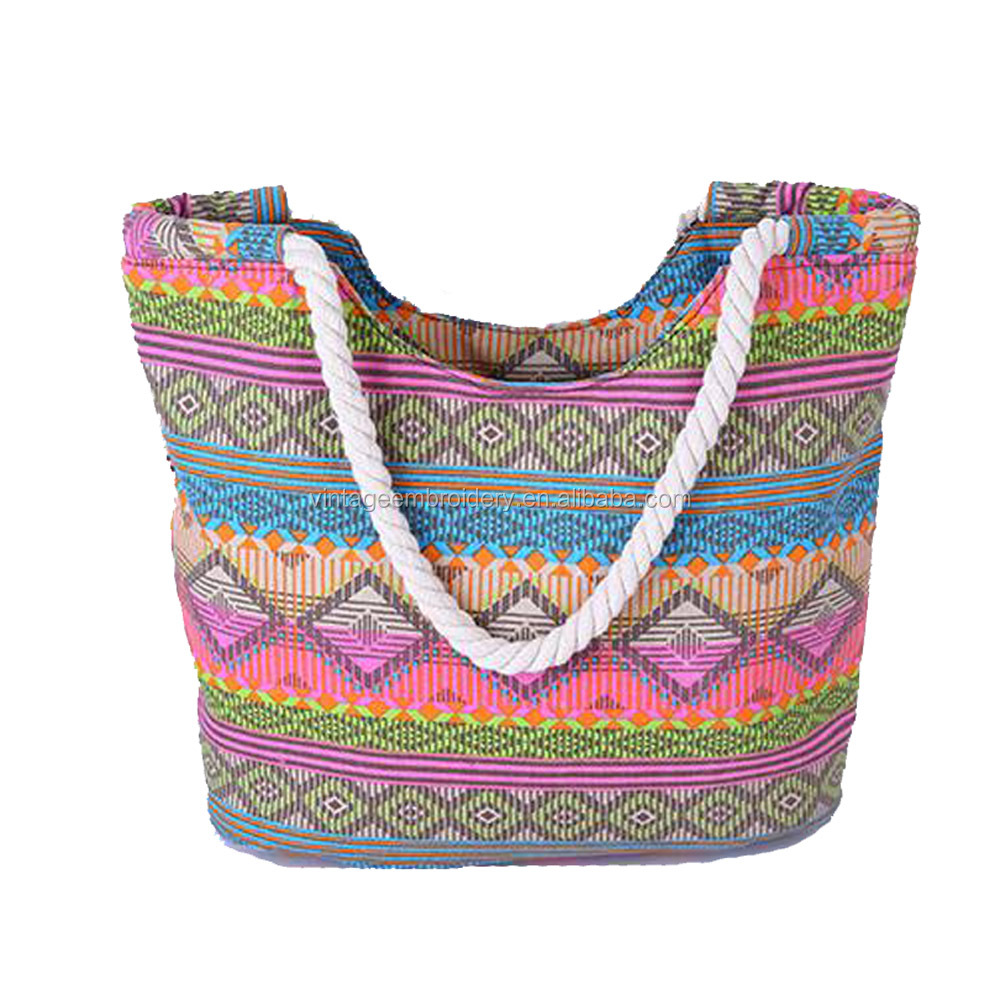 Women Handbag Vintage Boho Colorful Canvas Bags Casual Travel Shoulder Bag Floral Printing Shopping Beach Bags