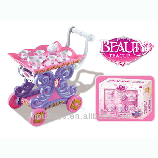 Plastic Teapot Set with Cart Toy, Elegant 7pcs Kitchen Set for Kids