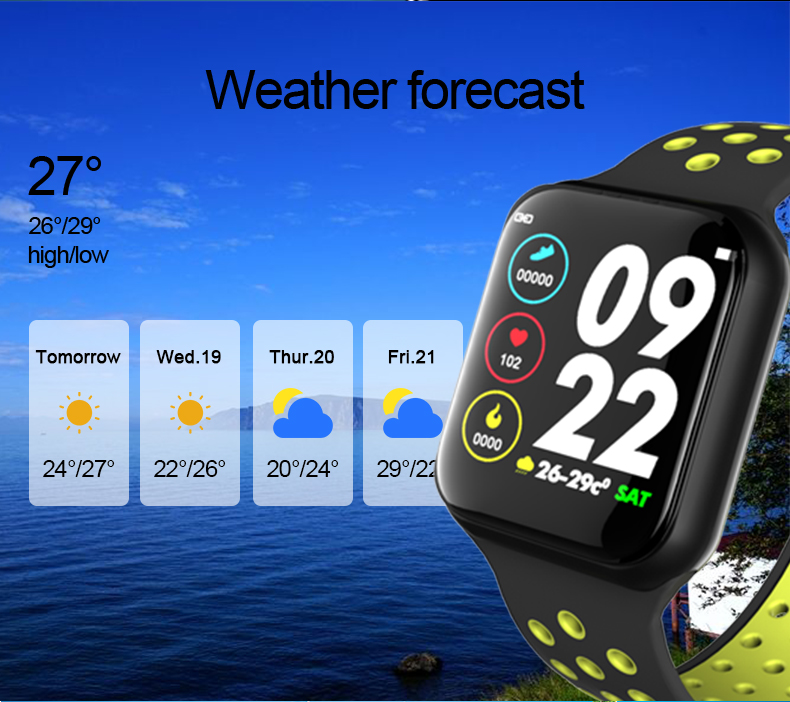 2019 fashion new design F8 touch screen heart rate monitoring smartwatch life waterproof sport android smart watches