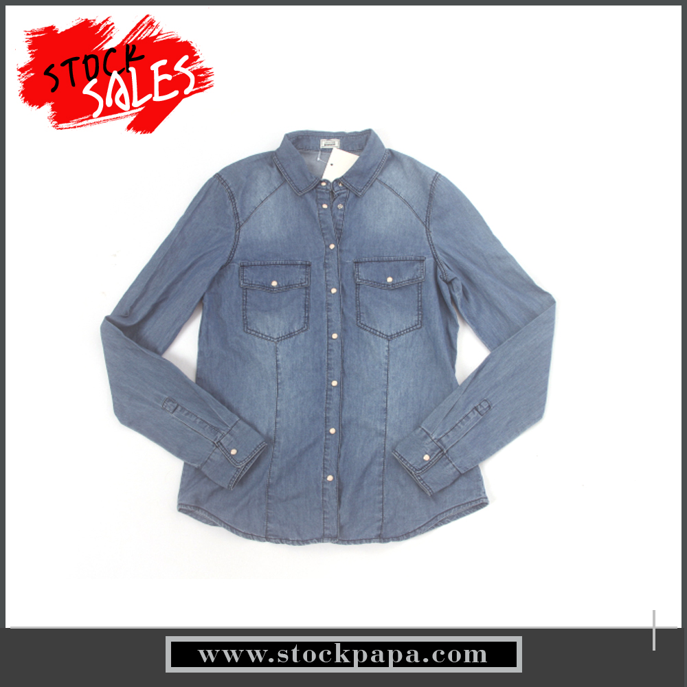 stock sale women denim long sleeve shirt