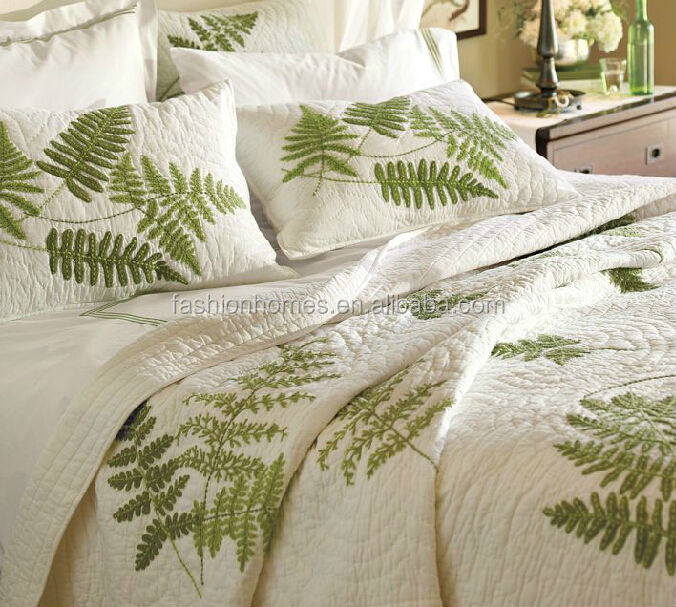 Shanghai embroidery bed sheet set leaf bedding view