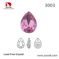 Rose Color Pear Cut Garment Rhinestone;Spinel Drop Crystal for sew on clothes