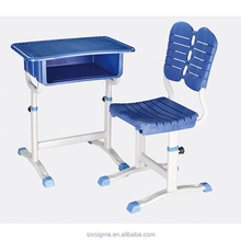 High quality wooden top metal frame primary single students desk and chair price