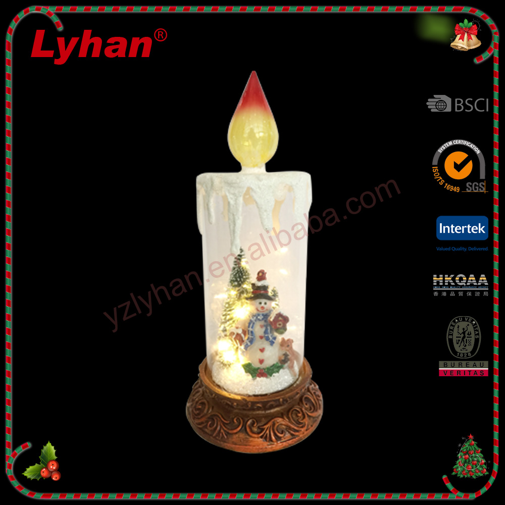 Lyhan LED candleholder/ poly christman snowman inside for 2017 X'mas decoration