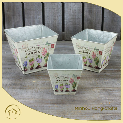 2016 lavender Design paper decal metal square flower pot for garden