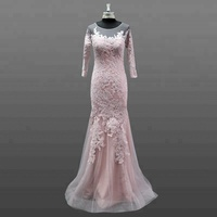 See Through Back Evening Dress Three Quarter Sleeve Real Made Elegant Women Turkish Evening Dresses
