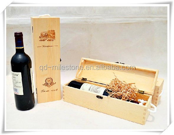 Wine Bottle Carrier/Natural Wholesale Wooden Wine Boxes