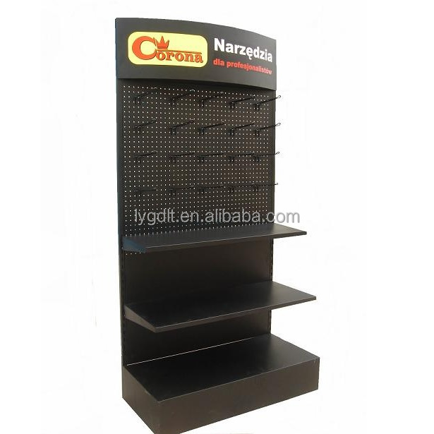 Customized Logo Metal Pegboard Floor Shelf Rack Power Tools Exhibition Display Stand