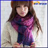 HZW-14882001 korean men and women flowers winter line gradual change thick knitting scarf