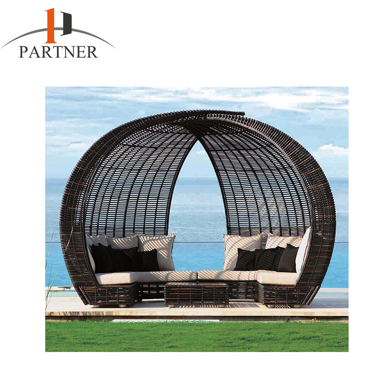 2017 Fashion Romantic Garden Beach Patio Round Luxurious Chaise Lounger Outdoor Furniture