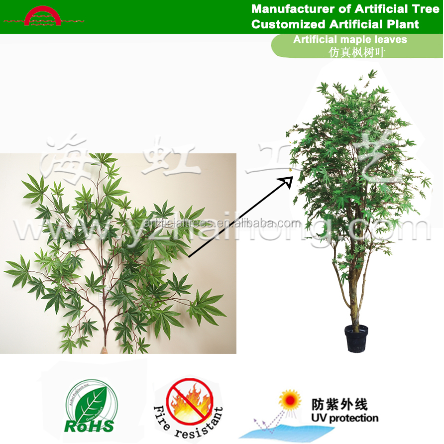 Make artificial decorative green maple leaves/Aceracede tree foliage