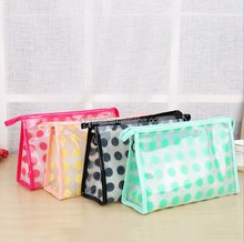 Wholesale Customized Round Dot Printing Easy-carry Colorful PVC Travel Cosmetic Pouch Bag