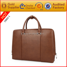 Factory direct sale high quality brown genuine leather briefcase for lawyers