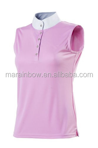 Tailored Cut Ladies Competition Polo Shirt Blank Turtle Neck Sleeveless Horse Riding Polo Shirt Equestrian wear