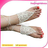 Cheap White Chain Anklet Beach Wedding Crochet Barefoot Sandals For Girl