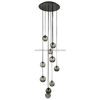 2015 Contemporary shades chandelier smoky grey crystal glass lamp ball pendant lamp