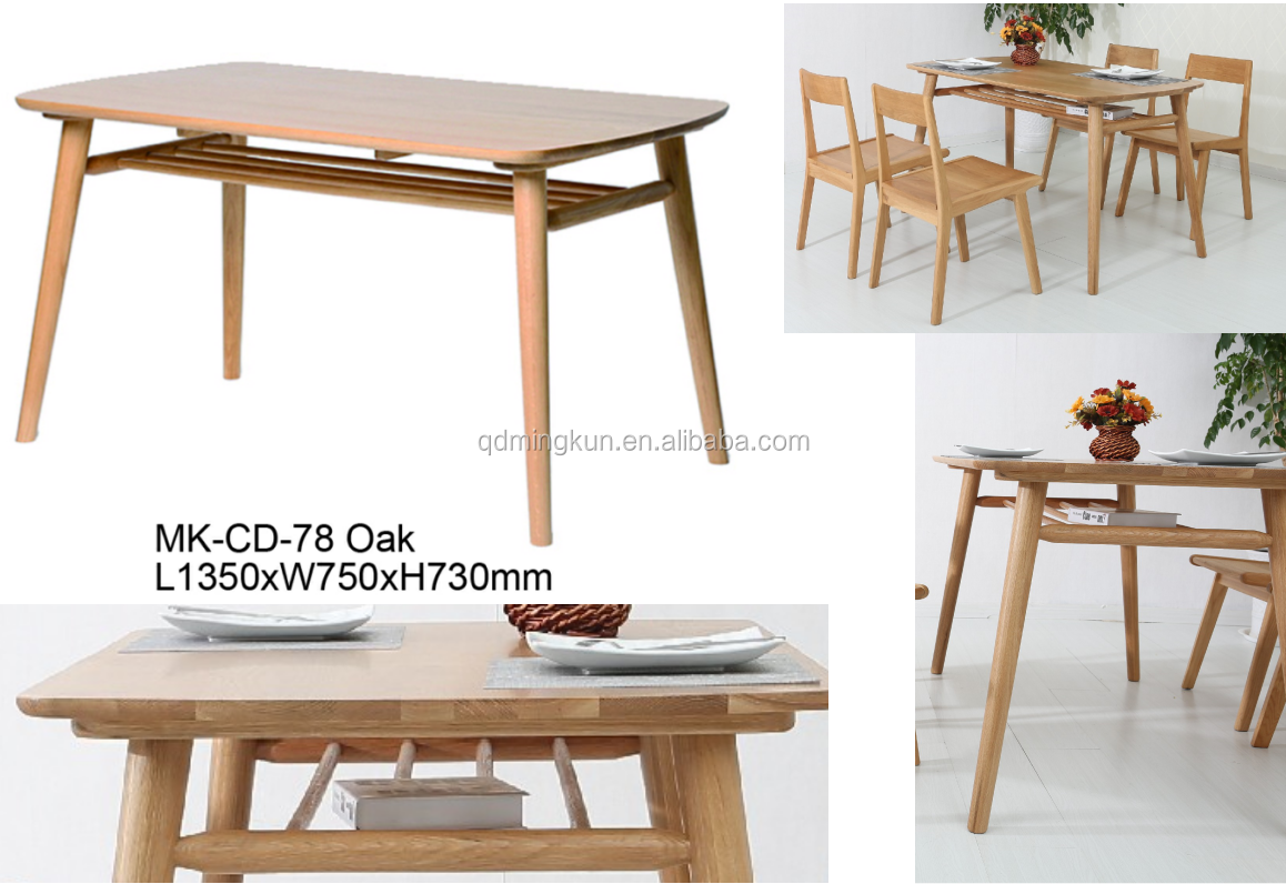 Modern style solid oak wood dining set table and 4 chairs set kitchen furniture