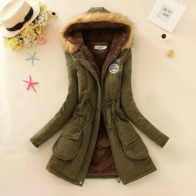 winter jacket women casual camouflage hooded mediu long parkas fashion ladies slim faux wool liner plus size
