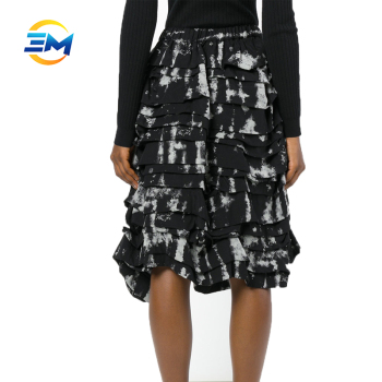 New fashion women high waist printing layered knee length viscose lady skirt