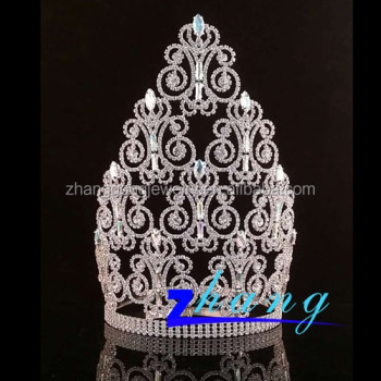 Beauty tiara pageant round rhinestone tiara