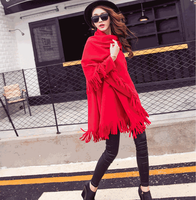 W71350G 2015 boutique clothes loose glove collar double-sided cashmere wool coat women coats winter 2015 with tassels