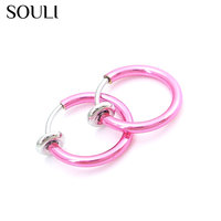 Wholesale indian jewelry copper alloy resilient magnetic nath nose stud ring