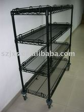 Wire storage rack, shelves,movable powder coated heavy duty chrome wire shelving for industry use