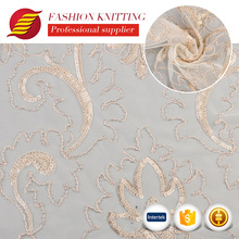 New arrive fancy professional cloth made embroidery design beaded mesh fabric